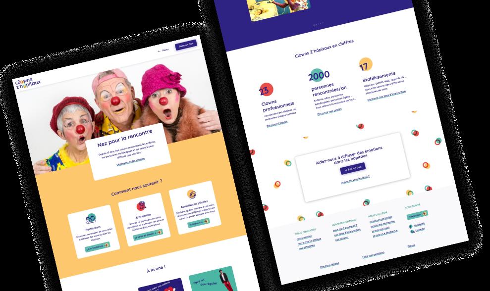maquettes du site de l'association les clowns z'hopitaux
