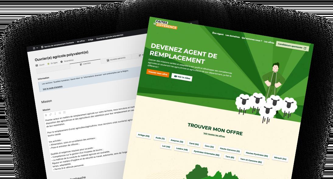 maquettes du site du service de remplacement Occitanie
